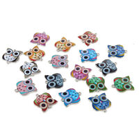10pcs Mixed Owl Oil Drip Connectors Alloy Charms DIY Bracelet Jewelry 19*21mm