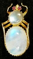 Vintage Moonstone Ruby Bug 10k Gold Brooch Pin-Moonstone Jewelry-Estate Jewelry