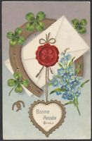 Lucky horse shoe forget me not greetings antique embossed postcard