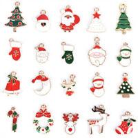 20Pcs Mixed Enamel Alloy Christmas Charms Pendant Jewelry DIY Craft Making