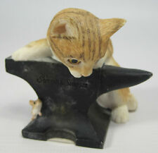 More details for sherratt & simpson figurine 55521 'kitten with anvil and mouse' approx 6cm