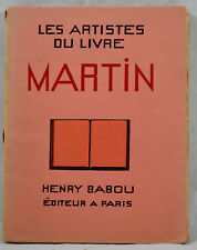 ARTISTES DU LIVRE MARTIN 1928 éd. HENRY BABOU complet des 16 planches