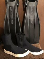 Henderson Boots & Frog Cressi Fins for Scuba/ Snorkeling, Sz 7-8/S-M, Both Great