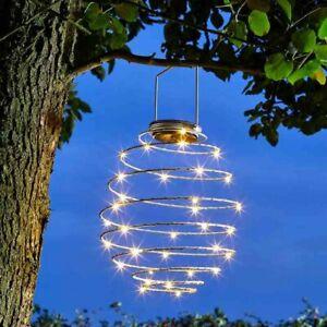 Spiralight Decorative LED Solar Powered Modern Hanging Large Garden Lantern