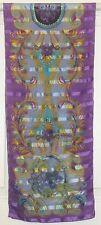 TERRIART Purple, Aqua, Gold Paisleys 54x11 Long Scarf-Vintage