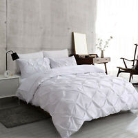 White Pintuck Duvet Cover Set 100% Egyptian Cotton Bedding Sets Double King Size