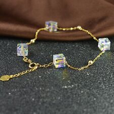 Pure Solid 18K Yellow Gold Beads O Chain with Crystal Square Women Bracelet