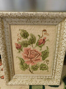 Vtg Shabby Chic Crewel Embroidered Floral Rose Wool Wall Art Framed Picture Fab!
