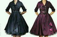 Purple / Black Vintage Belted Dress Swing Rockabilly 50s 40s Pin Up Dress N69