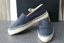 NIB CHANEL LOGO BLACK ON BLACK SATIN ESPARDRILLES Sandals Shoes 39