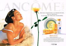 PUBLICITE ADVERTISING 025  1997  LACOME  cosmétiques solaires INES SASTRE ( 2p)