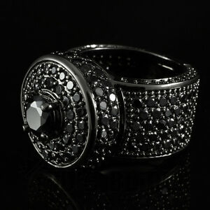 18K Black Gold Bling Out ICED Simulated Diamond Band MICROPAVE Mens Ring NEW