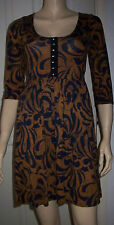 EVIE Blue Tan 3/4 Sleeve Hook Eye Front Casual Summer Dress Size 8