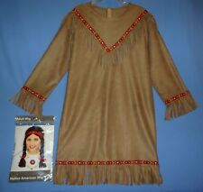 Native American Indian costume dress;women medium-large;with adult Indian wig