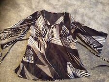 LOVELY EPILOGUE SHEER BLOUSE GREYS AND PURPLES SIZE 16 VGC