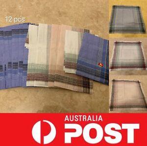 12 pcs Mens Square Pocket Handkerchief Special,100% Cotton,AU Stock