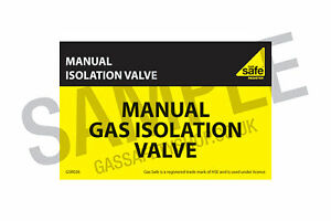 Gas Safe Manual Gas Isolation Valve Label