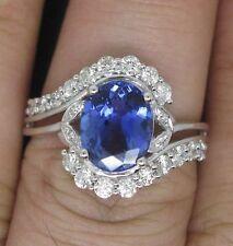 2.10 Carat 14KT White Gold Natural Blue Tanzanite IGI Certified Diamond Ring