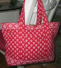 VERA BRADLEY Red & White Paisley Border Nantucket Purse Bag
