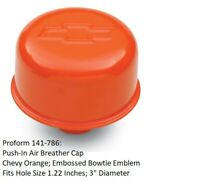 Proform 141-861 Black Push-In Oil Breather Cap w// Recessed Red Chevy Emblem