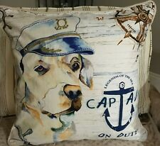 "Secret Celebrity Pillow Sham 20"" Dog Captain Nautical - Insert Not Included NEW"