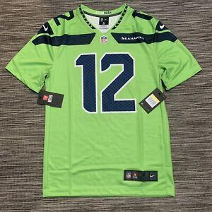 NWT Nike Seattle Seahawks FAN #12 Mens Color Rush Legend Jersey Small Neon Green