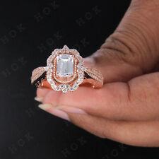 10k Real Gold 2.50 TCW Emerald Cut Diamond Halo Vintage Ladies Engagement Ring