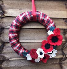 Tartan Christmas Wreath Handmade 35cm Felt Flowers