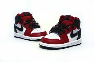 ***** Nike Jordan 1 High OG TD Satin Snake 4C Toddler Chicago Black Red *****