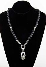 Handmade Halbedelsteinkette Rosenkranz Kette Lavastein Totenkopf Skull Halskette