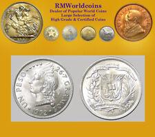 Dominican Rep. 1952 Peso, Superb Gem Frosty BU, Scarce High Grade,