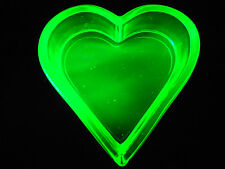 Green Vaseline Uranium glass heart salt dip cellar celt yellow poker card euchre