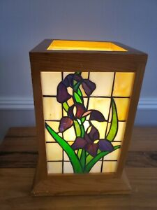 """13""""  Stained Glass Mission Style Hurricane Accent Lamp. Floral design. Gorgeous"""