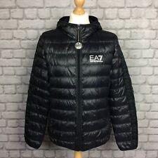EA7 EMPORIO ARMANI MENS UK XL BLACK DOWN BUBBLE TAPE JACKET PUFFA RRP £170 CS