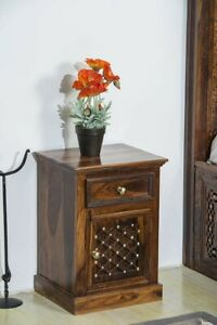 Mogra Antique Brass Work Solid Wood Brass Bedside Table (Made To Order)