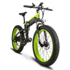 Cyrusher Folding Electric Bike 7 Speeds Full Suspension 500W*48V eBike Green