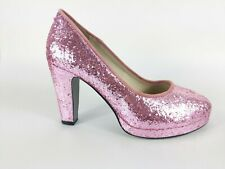 Lise Lindvig Pink Glitter High Heel Court Shoes Uk 3 Eu 36