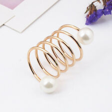 Shawl Ring Women Imitation Pearl Scarf Buckle Brass Gold Plated Spiral Shape