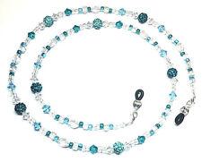 Blue Zircon / Aquamarine Austrian Crystal Bling Ball Eyeglass Chain Holder