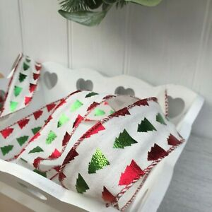 Red & Green Christmas Tree Wired Cream Ribbon, Bows,Wreaths,Trim,Cards 1Mtr
