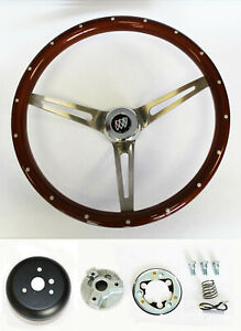 "1964-1966 Buick Skylark GS Wood Steering Wheel High Gloss Grip 15"" with Rivets"
