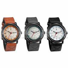 Men's Unique Fashion Arabic Numerals Dial Leather Straps Band Quartz Wrist Watch