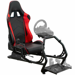 VIVO Racing Simulator Cockpit with Wheel Stand and Reclining Seat, Gear Mount