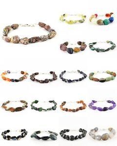 Natural Chalcedony Indian Opal Jasper Agate Tumble Cut Beads Handmade Bracelet