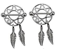 "Nipple rings pair CZ barbells Barbell 14 gauge 3/4"" bar Dream catcher feather"