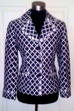 Talbots Jacket Suit Sz 8 Blue Navy & White Dress Casual Cotton Boucle M NEW