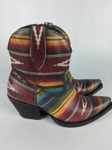 Ariat Womens Western Cowboy Mexican Blanket Boots Red Multicolor Leather 8.5 M