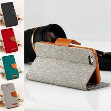 Wallet Canvas Handy Tasche für Handy Flip Case Schutz Hülle Magnet Book Cover