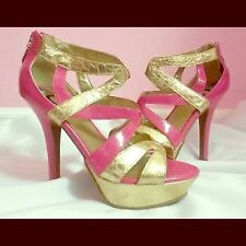 New! G by Guess Platform Strappy Neley Heel Pumps- Pink & Gold Snake Skin Sz 7.5