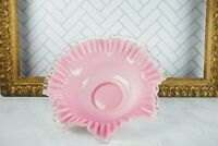 1950's Fenton Crested Pink Pastel Ruffled Wavy Edge Candy Dish, Glass Bowl